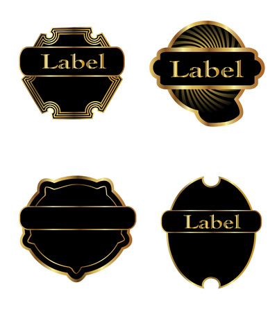 Vintage black gold and pink frame label vector Vector