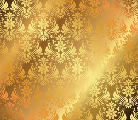 Golden Background With Floral Ornaments Vector Ilustrace