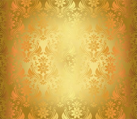 Luxury Seamless Golden Floral Wallpaper Vector Illustration