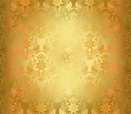 Luxury Seamless Golden Floral Wallpaper Vector Illustration