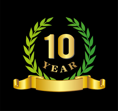 10th: 10 Years Anniversary Vector Illustration