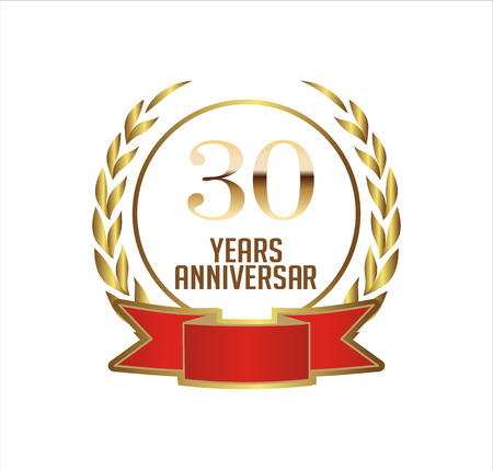 30 Years Anniversary With Laurel Ribbon Vector Illustration