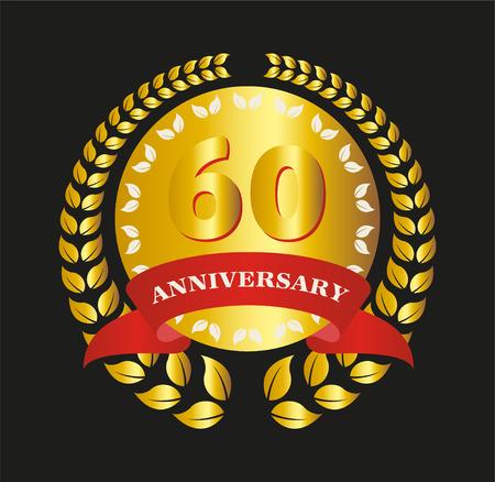 60 Years Anniversary - Retro Golden Ribbon Laurel Vector Illustration Vector