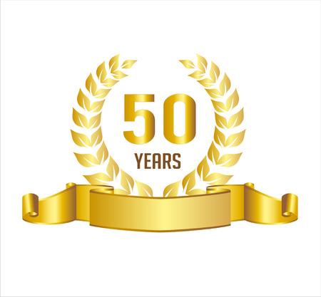 Golden 50 Years Anniversary With Laurel Wreath Ribbon Illustration