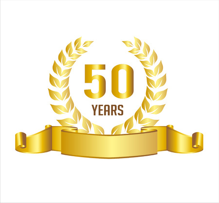 Golden 50 Years Anniversary With Laurel Wreath Ribbon Illustration