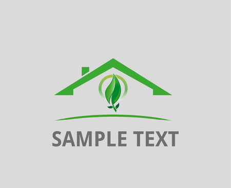 Real estate business symbol with eco leaf Vector