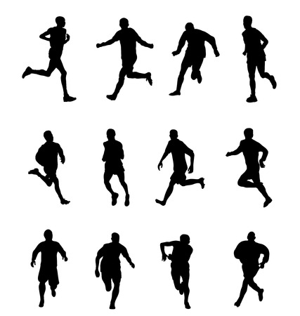 Runners Running man and woman black silhouettes Vector