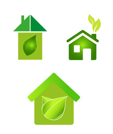 green eco houses home icon Vector