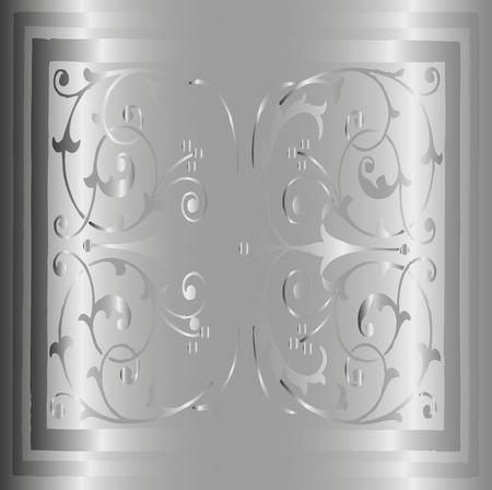 Abstract Gray Background of Elegant Vintage Floral Illustration