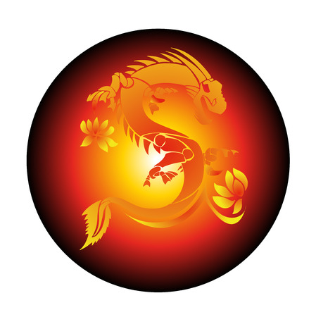 Circle Red Background With Yellow Dragon  Vector