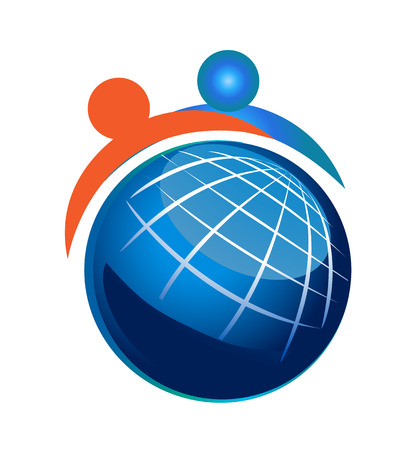 People and Globe Icon Vector
