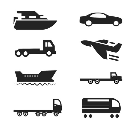 Transport Icons Cars Ships Trains Planes Set Vector