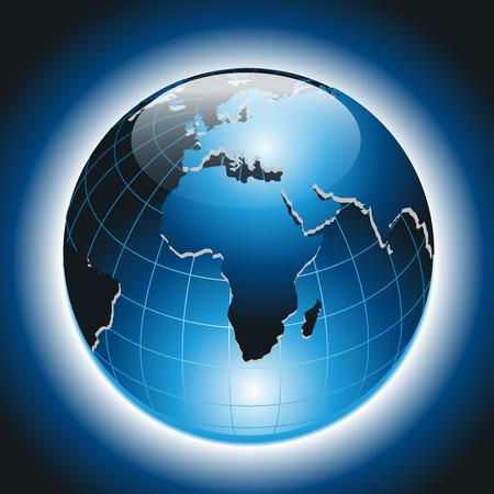 World Globe on Dark Blue Background  Vector