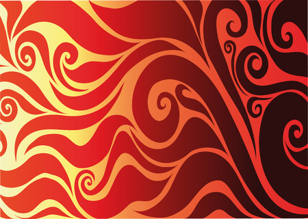 solemn: Yellow Seamless on Red Background With Abstract Patterns Illustration