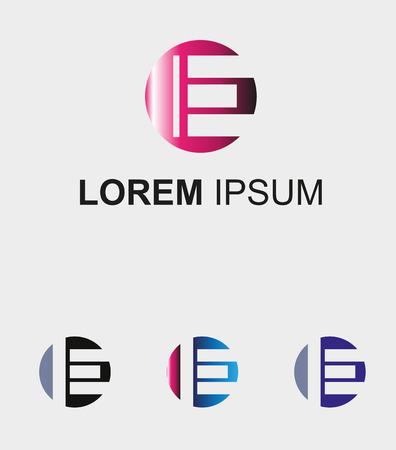 letter e: Circle icon with letter E logo