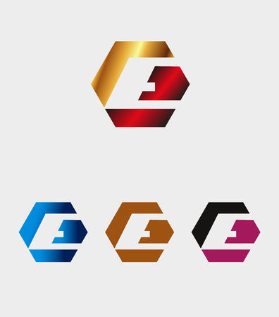 E letter icon with hexagons logo Vector