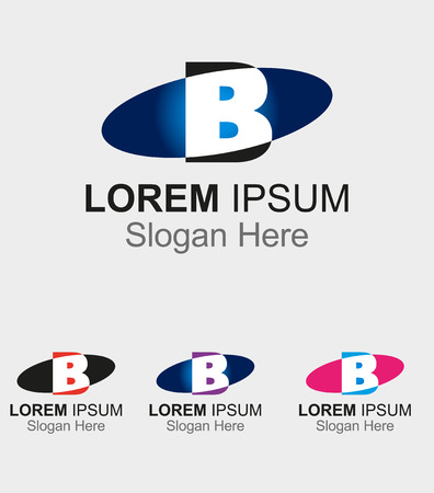 Elip icon with letter B logo design Vector