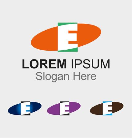 Elip icon with letter E logo design  Vector