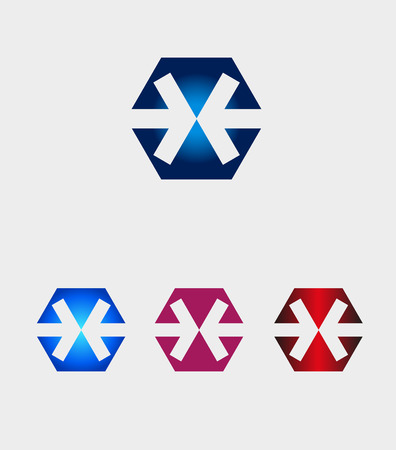 arrow icon: Hexagons logo with arrow icon Illustration