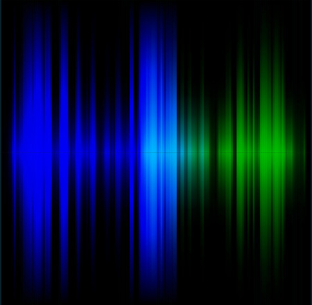 spot lit: Blue and green abstract wave dark background Illustration