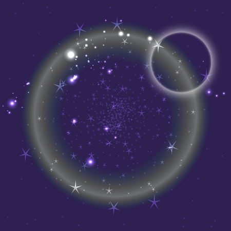 Blue circle background with stars