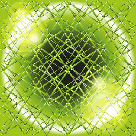 Explosion circle light dots, Abstract background in grid of green Vector