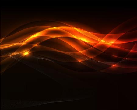 Orange light wave on black background Illustration