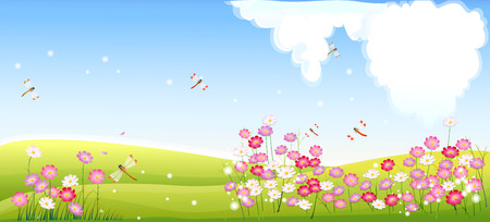 Spring landscape with flower and dragonfly Illustration
