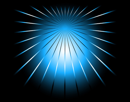 Blue and black color ray background with a burst Vector