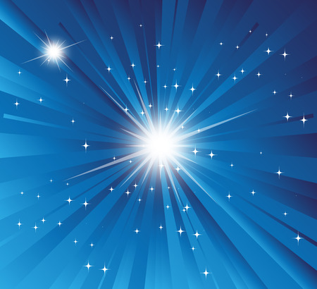 Burst Blue background with ray and star light Vector