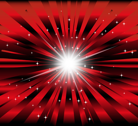 star light: Burst red and black background with ray and star light