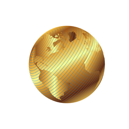 Golden globe planet illustration with geographical grid Vector