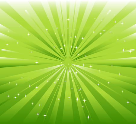 ray light: Green background with ray and star light