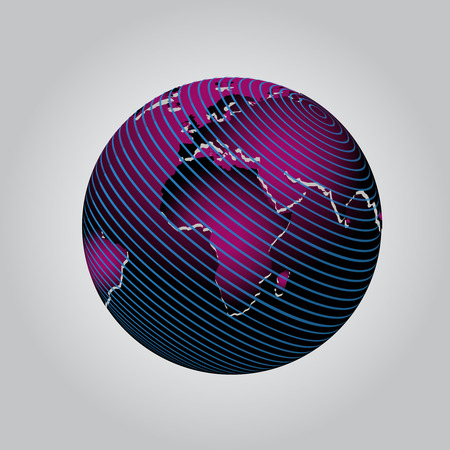 globe grid: Purple vector communication globe icon grid design Illustration
