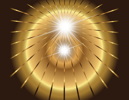 Two star burst, ray with lens flare golden Vector