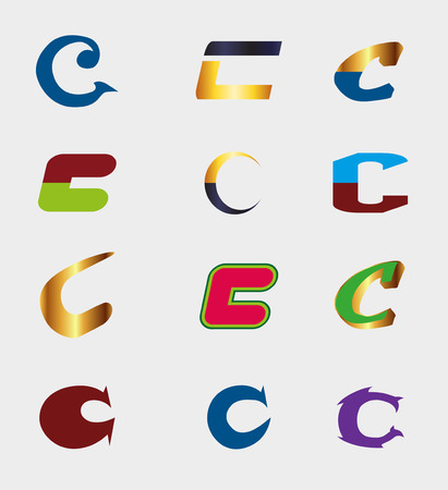 Unusual Letters C Set - Isolated element C symbol Vector Illustration EPS File Vector