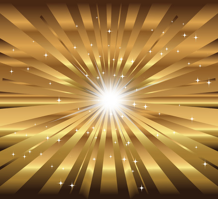 Vector star, ray with lens flare golden background Vector