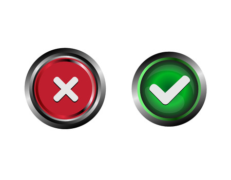 affirm: Confirm and Decline buttons vector Stock Photo