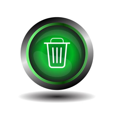 papelera de reciclaje: Icono de la papelera de reciclaje icono de la papelera verde sobre un fondo blanco