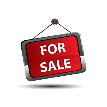 sales agent: For sale icon banner, selling a house apartment or other real estate sign Illustration