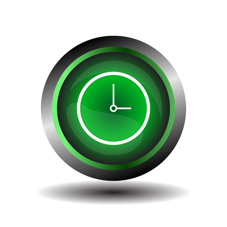 symbole: Clock icon symbol glossy vector