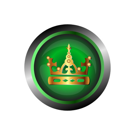 Crown icon gold, isolated on green glossy background Vector