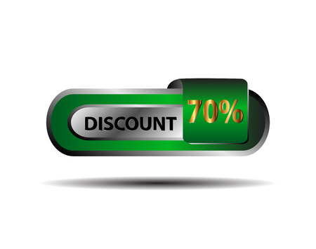 70 percent discount green button vector Vector