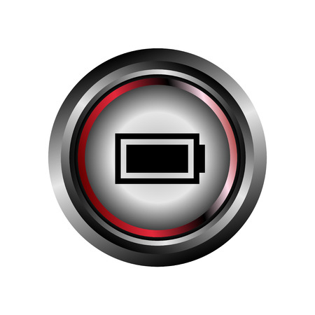button glossy: Battery sign button glossy web icon vector