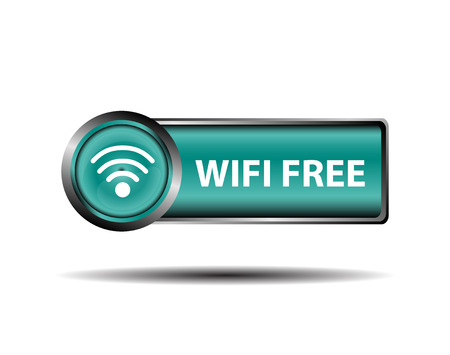 boardcast: Blue Icon WiFi Free Sign Isolate vector