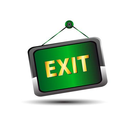 green sign: Uscire etichetta icona di emergenza segno verde