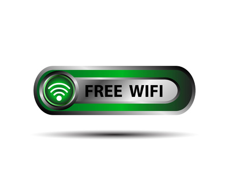 three dimensional accessibility: Free WiFi wireless button vector
