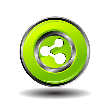 Green Glossy Share button vector Vector