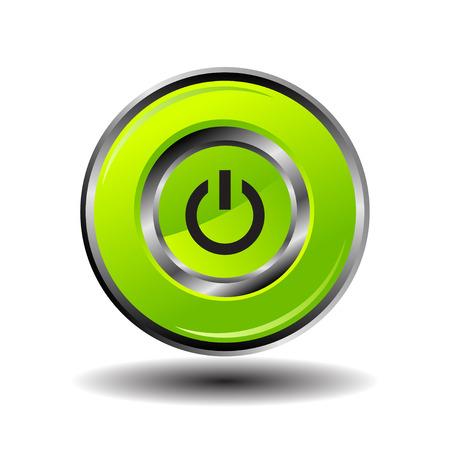 shut down: Green round button shut down icon vector