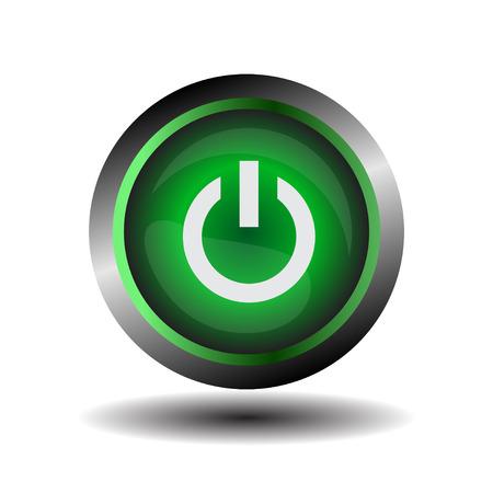 Power icon glossy green vector Illustration